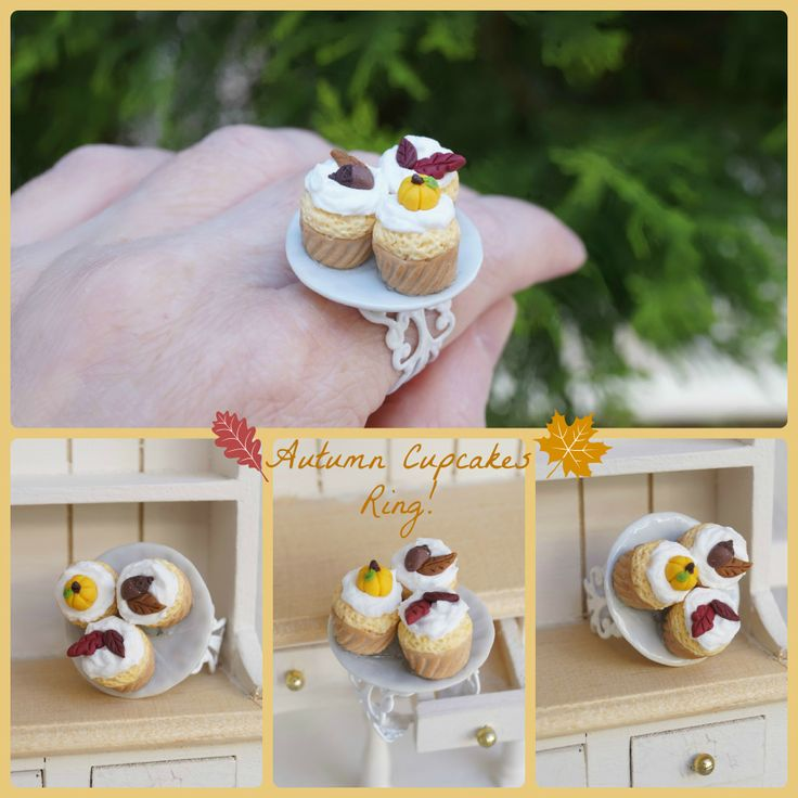 ''Autumn cupcakes''Ring! Wearable -collectable food miniatures!