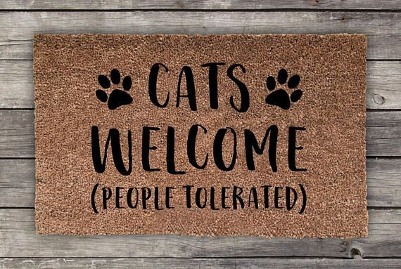 Cats Welcome People Tolerated Cat Doormat Wedding Gift Closing