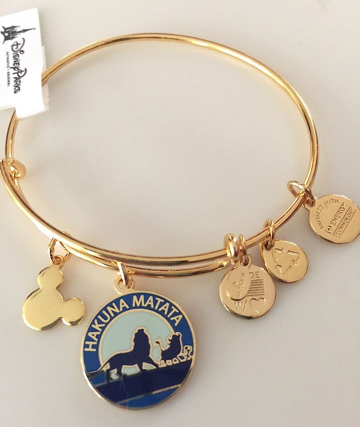 Disney Alex and Ani Hakuna Matata Lion King Gold Charm Bangle Bracelet