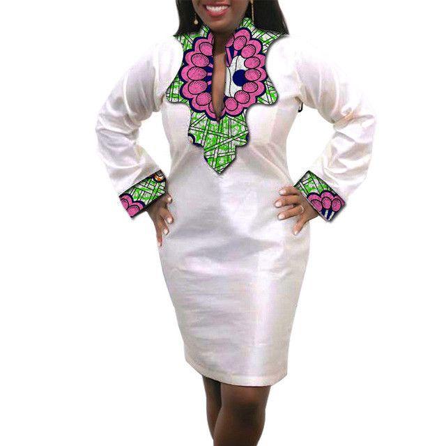 African Dress Slim Fit Ladies White Dress Plus Size Custom Made Kitenge Dashiki Clothes
