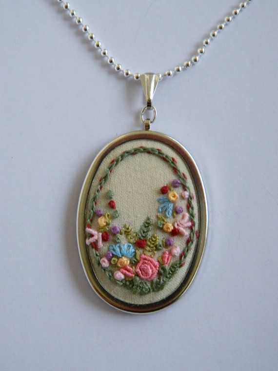 Embroidered necklace pendant flower garden by ThePetiteArmoire, $45.00