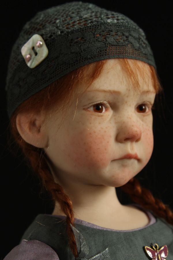 OOAK polymer Little girl doll in gray hat by Laurence Ruet. The best ❤️❤️❤️