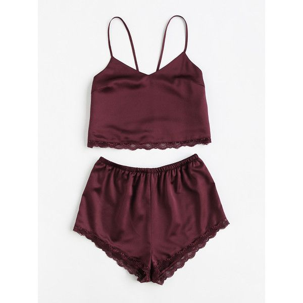 Lace Trim Satin Cami And Shorts Pajama Set ($15) ❤ liked on Polyvore featuring intimates, burgundy, satin camisole, sexy pajama sets, lace trim cami, sexy camisole and satin cami