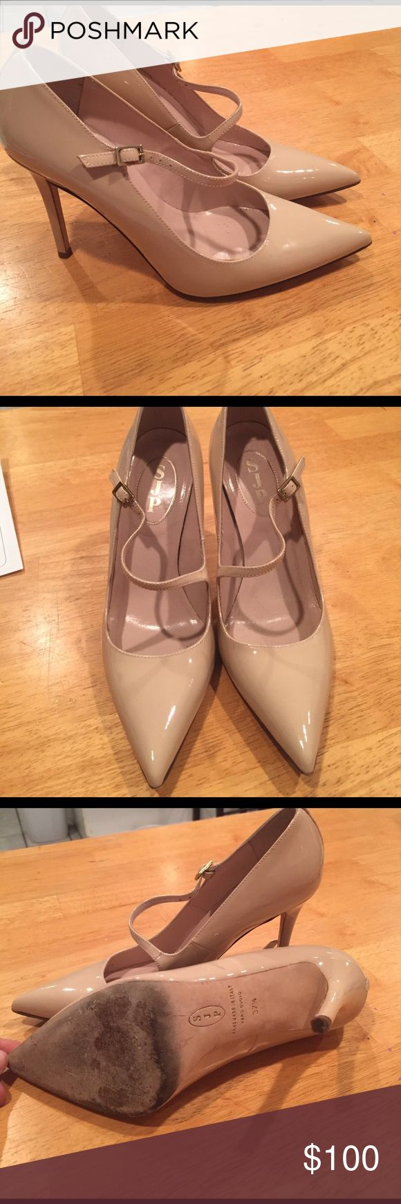 Sarah Jessica Parker patent leather heels. 7 1/2 SJP. 4 inch heels.   Beautiful condition, worn on bottom as shown.  Two scuffs also shown Shoes Heels