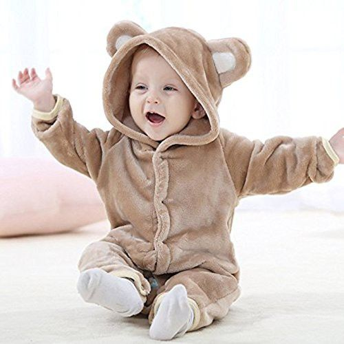 Borje Unisex-baby Flannel Romper Cute Animal Onesies Outfits Suit Brown B 90cm(13-18months)