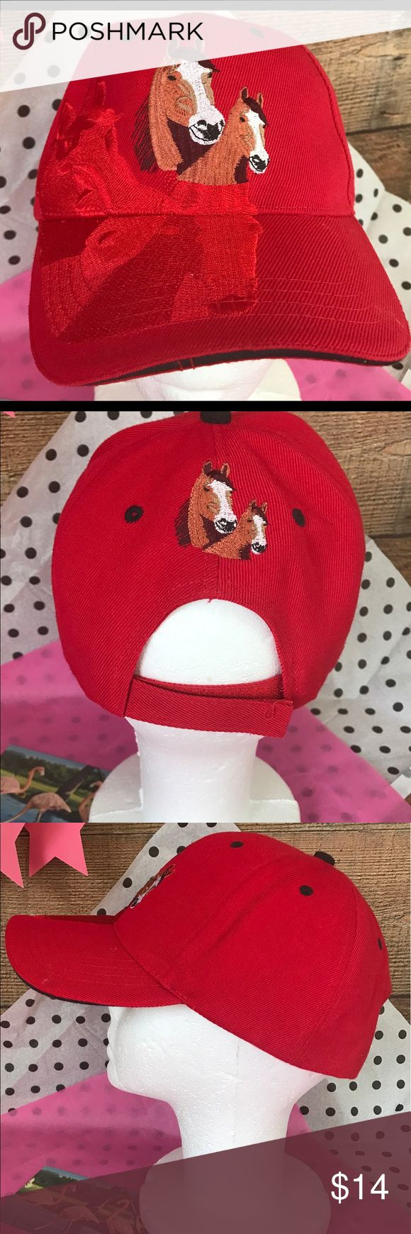 Red Embroidered Horses Riding Hat Excellent Condition unbranded Accessories Hats