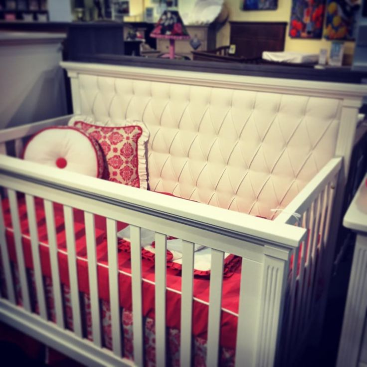 Coral Damask Crib Bedding On Display In A White Leather Tufted Headboard  Crib At Baby Furniture