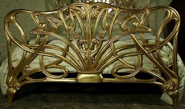 French Art Nouveau style king size solid mahogany. Hand carved & finished in gilt.
