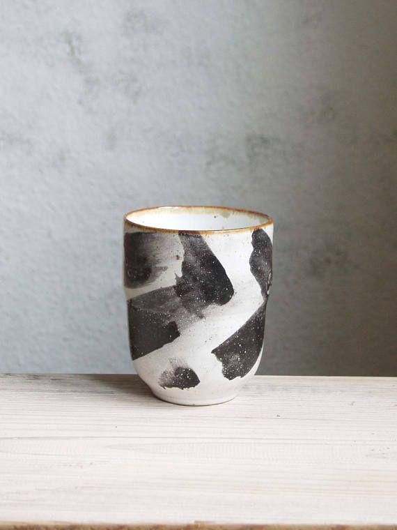Hand painted ceramic cup/tumbler black and white pottery.