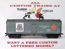 HO CUSTOM LETTERED REA JAPS BOMB PEARL HARBOR FREIGHT CAR BOXCAR REEFER LOT 7
