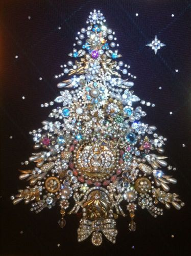 Vintage Rhinestone Jewelry Christmas Tree One of A Kind Creation Framed Art | eBay
