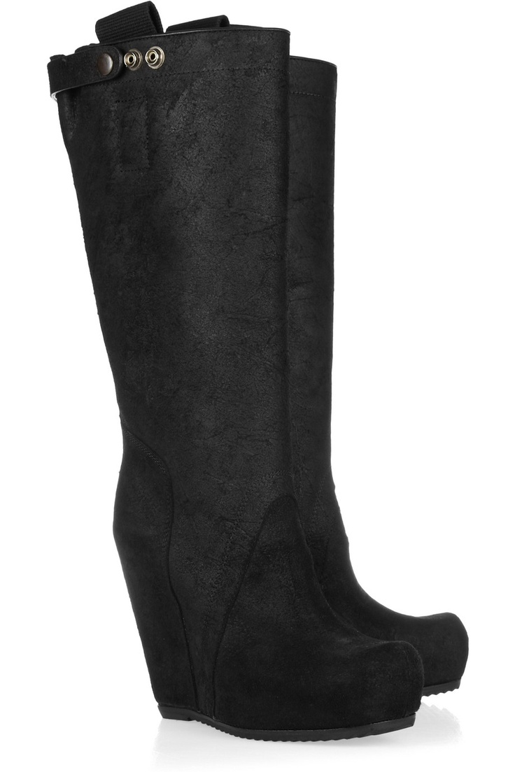 Rick Owens | Leather wedge boots | NET-A-PORTER.COMWedges Black, Leather Wedges, Rick Owens Leathe, Black Boots, Owens Leather, Boots Booty, Owens Leathe Wedges, Black Wedges, Wedges Boots Nets A Porter Com