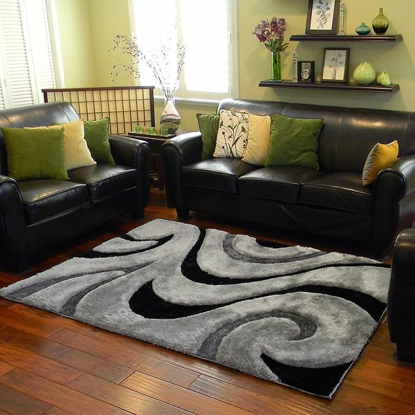 Donnie Ann Shaggy Abstract Wavy Swirl Grey Area Rug (5 U0027x 7u0027)