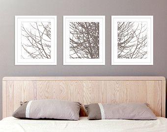 Modern Winter Tree Branches Art Prints Tree Wall Art by AldariArt