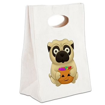 A Pug Halloween Canvas Lunch Tote from cafepress store: AG Painted Brush T-Shirts. #Halloween #pug #pumpkin #bag #school