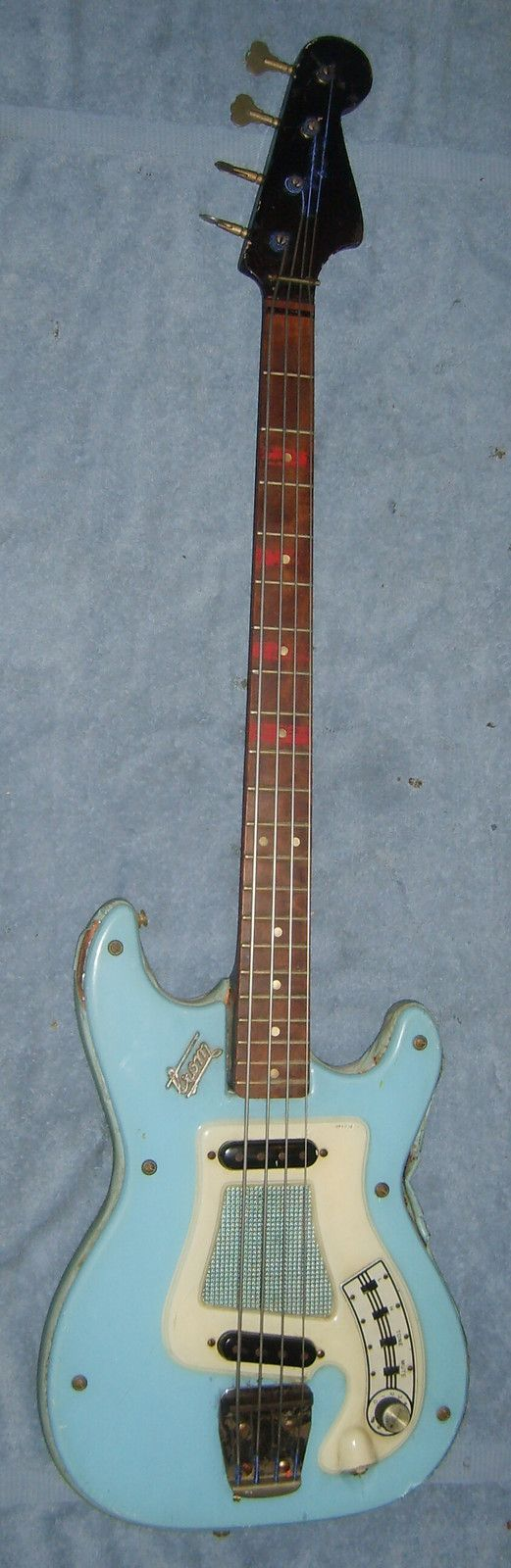 Vintage Early '60s Hagstrom BLUE Bass Guitar ! Round Pole PUs- I'd say different #BassGuitar