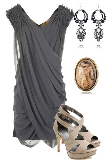 lovelovelove this dress: Date Night, Outfits, Fashion, Gray Dress, Style, Clothing, Dresses Shoes, The Dresses, Grey Dresses