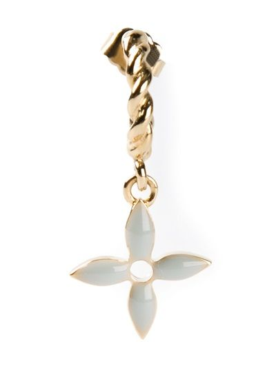 Louis Vuitton Gold-tone metal earring from A.N.G.E.L.O. featuring a rear pin fastening, drop chain and a grey floral charm. From 2000.