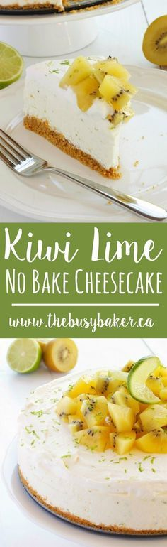 Kiwi Lime No-Bake Cheesecake is the perfect sweet, light summer dessert! www.thebusybaker.ca