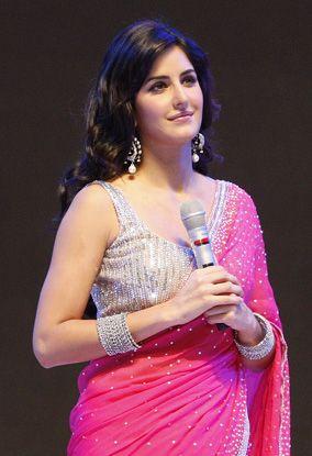 katrina in Pink and silver saree