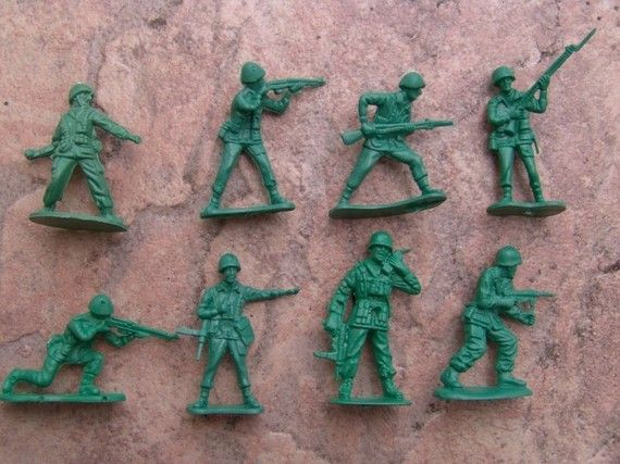army men! My cousin loved them...he would play with them for hours - making all the army/war noises!!!!