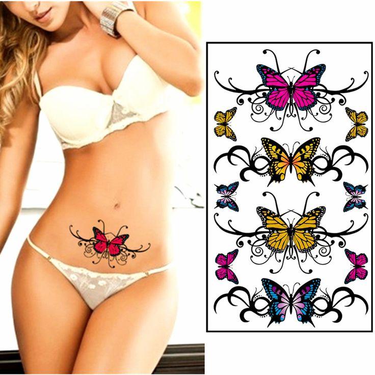 Sexy Temporary Tattoo Body Art, Charming Butterfly Designs, 25 style Flash Tattoo Sticker Keep 3-5 days Waterproof 17*10cm