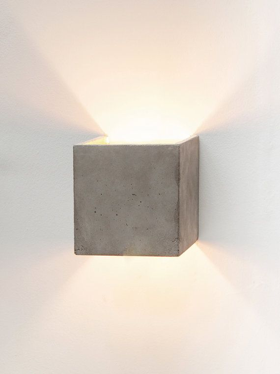 Concrete wall lamp B3 indirect lighting gold square por GANTlights