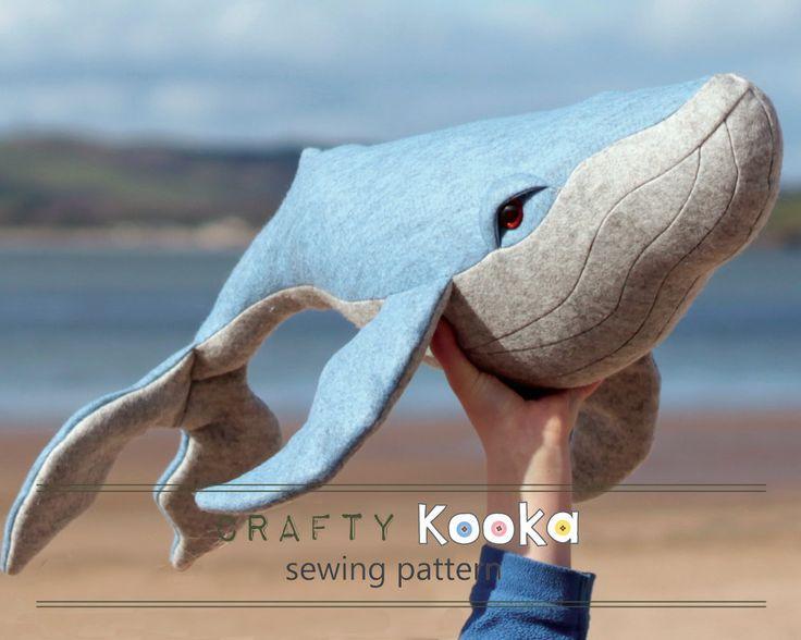 Stuffed animal sewing pattern whale plush sewing by CraftyKooka