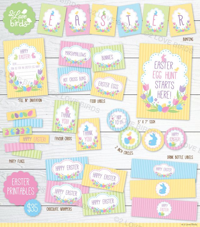 HAPPY EASTER PRINTABLE SET To celebrate Easter 2 Love Birds have designed this lovely and happy 'Happy Easter' printable set (not personalised).  #2loveBirds #printable #invitation #birthday #stationery #easter