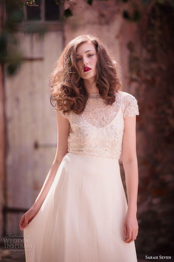 sarah seven spring 2014 bridal la vie cap sleeve wedding dress beaded