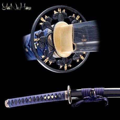 Fukushima Katana by YNH. Folded katana sword with a blue tsuka ito. 1060 folded steel, bo-hi, notare hamon, black saya. Matching wakizashi available.