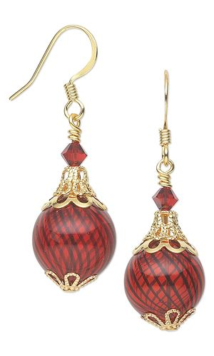 Christmas Ornament Earrings with Swarovski Crystal Beads, Hand-Blown Glass Beads and Gold-Plated Bead Caps by Jamie Smedley. #ornament #christmasjewelry