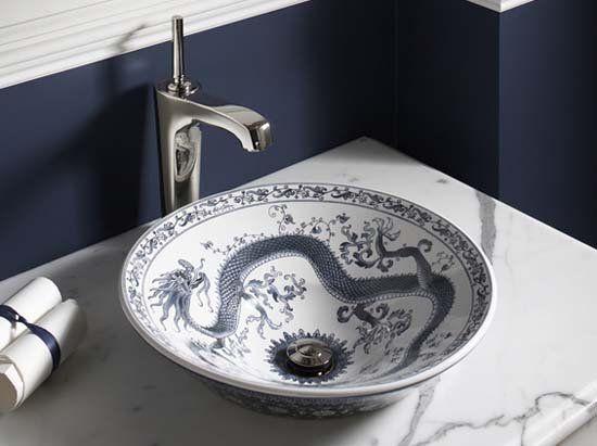 chinese pattern bathroom sink.