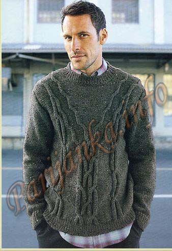 Пуловер с косами (м) 764 Creations 2004/2005 Bergere de France №3810