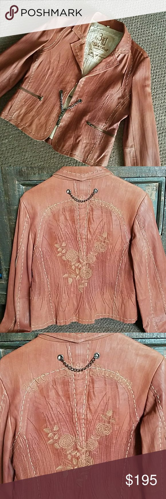 Johnny Was 3J Workshop lambskin leather jacket Beautiful like new 3J Workshop by Johnny Was embroidered limited edition brown lambskin leather jacket with chain closure and accent! I love it but it is too small! Johnny Was Jackets & Coats Blazers