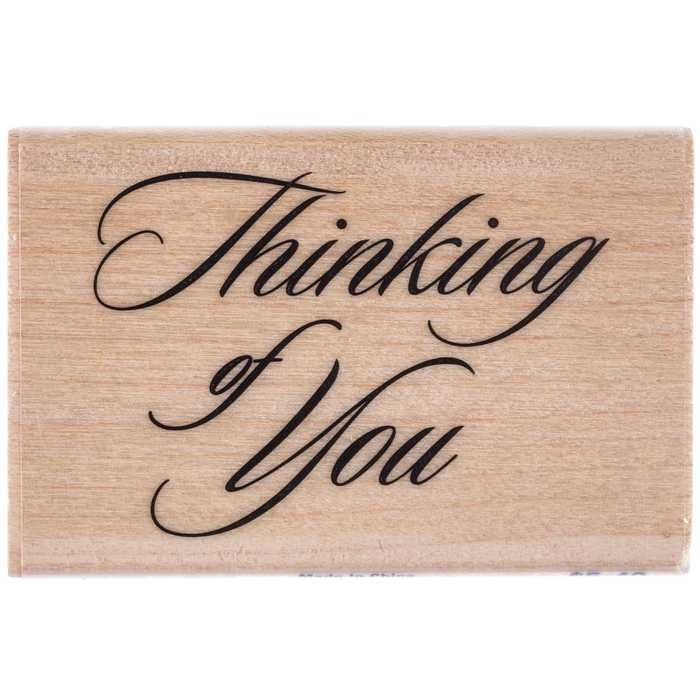 Cursive Thinking of You Rubber Stamp