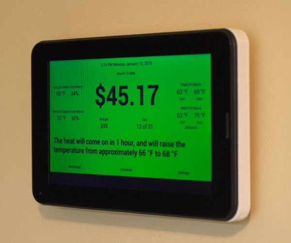 A thermostat that sticks to a budget, not a target temperature. Set a target amount, your gas rate and your electricity rate and Thermoneystat will do the rest, figuring out the best settings and power on times for your AC and heater.