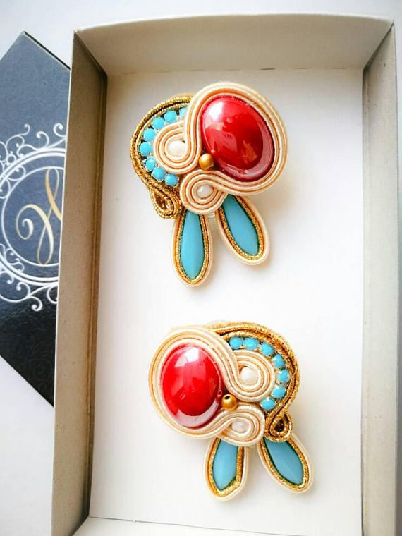Check out this item in my Etsy shop https://www.etsy.com/listing/547980764/soutache-handmade-stud-earrings-gift-for