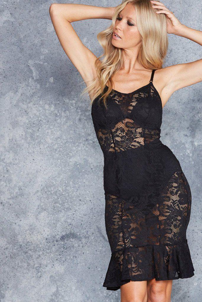 Frill Seeker Black Lace Midi Dress - LIMITED