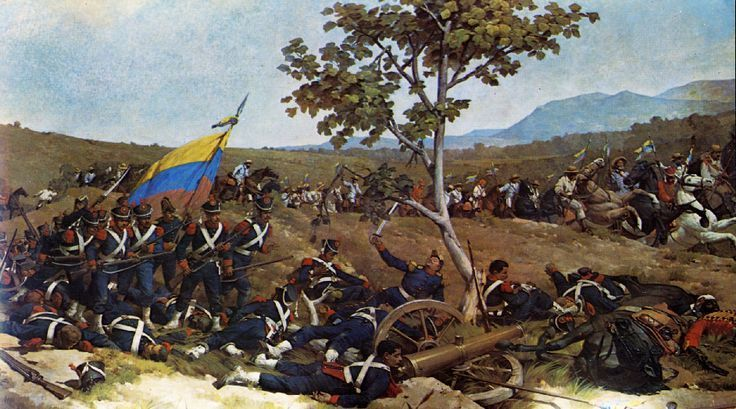 History: The Spanish Crown controlled the area of Venezuela through the eighteenth century. On July 5th, 1811, Venezuela declared their independence from the Spanish. But, it wasn't until 1821, after ten years of fighting when Venezuela was completely independent. The picture shows Simón Bolívar and his army's victory at the Battle of Carabobo, they created a republic called Gran Colombia, contained Colombia, Venezuela, and Ecuador.