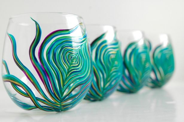 Hand Painted Stemless Wine Glasses With Sea Foam Aqua & Sapphire Blue Peacock Feathers - Set Of 6 by Mary Elizabeth Arts on Gourmly