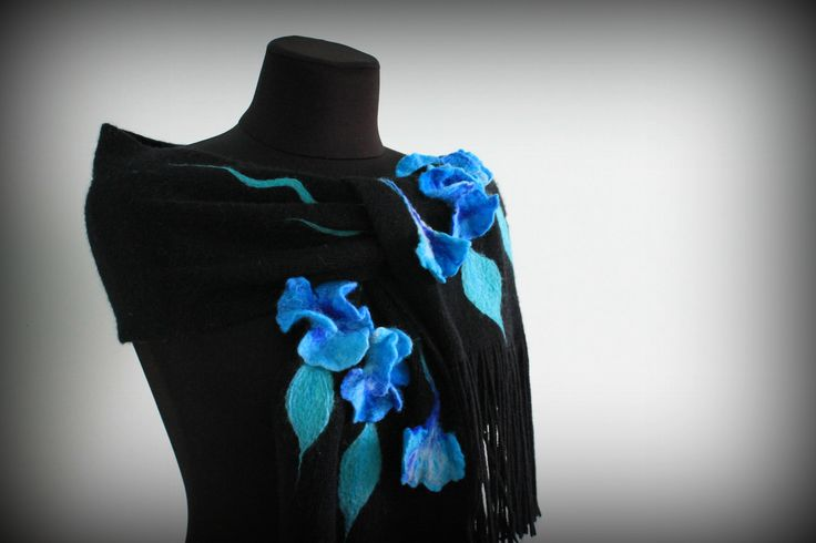 3D felted flowers, felting, scarf