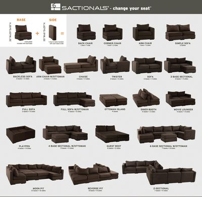 lovesac modular furniture configuration options - Google Search