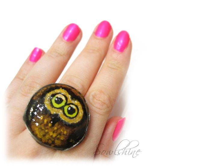 sOWLshine handmade jewelry - owl ring www.sowlshine.blogspot.com