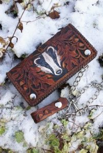 biker wallet with chain, carved belt loop and badger with oak leaves design