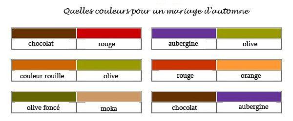couleurs parfaites pour le mariage d�automne et faire part mariage