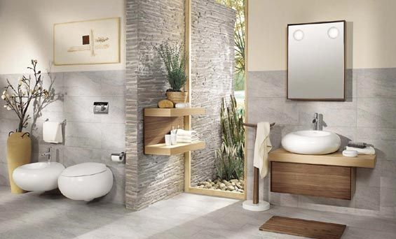 pebbled wall, veneer hanging vanity, white with natural humes, all hanging and off the floor
