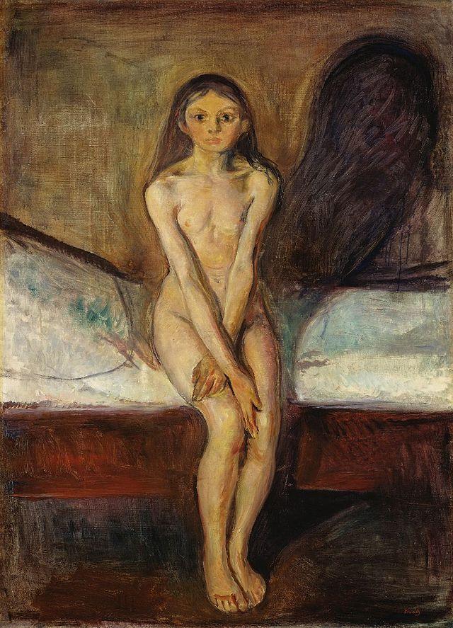 Edvard Munch, La pubertà, 1894-1895. Olio su tela, 151,5×110 cm. Galleria nazionale, Oslo