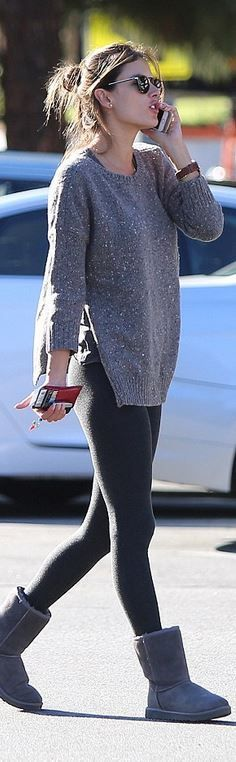 Alessandra Ambrosio's gray sweater and boots style id