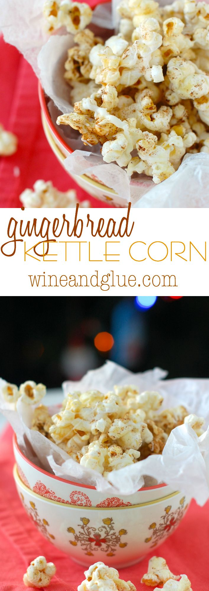 Gingerbread Kettle Corn | Delicious kettle corn flavored with gingerbread and drizzled with white chocolate
